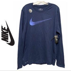 Nike Navy Men's Long Sleeve Training Shirt